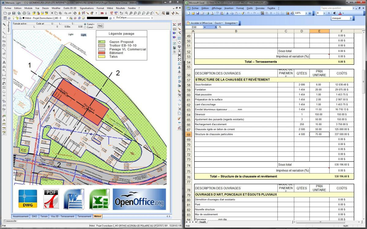 Take off software, quantity survey software, calculations